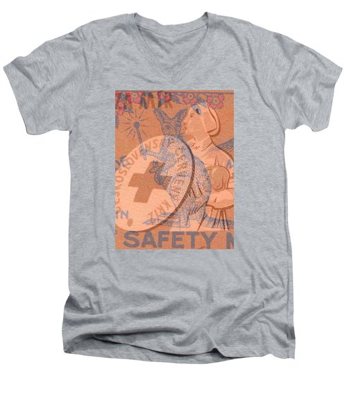 Safety Kangaroo First Men's V-Neck T-Shirt by Nop Briex