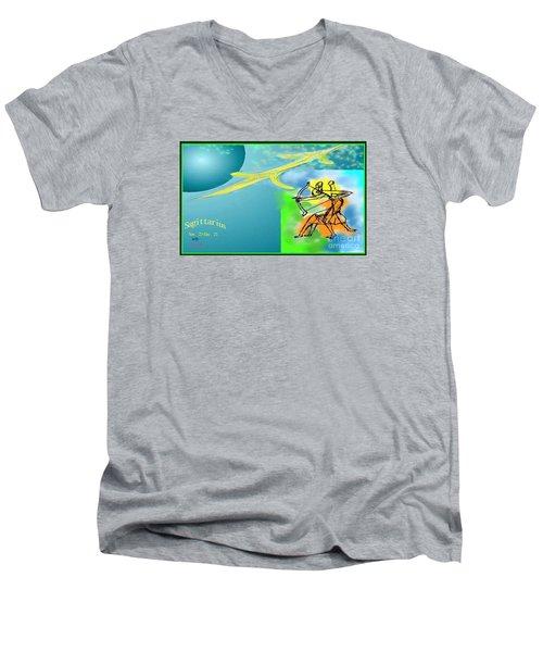 Men's V-Neck T-Shirt featuring the digital art Sagittarius by The Art of Alice Terrill