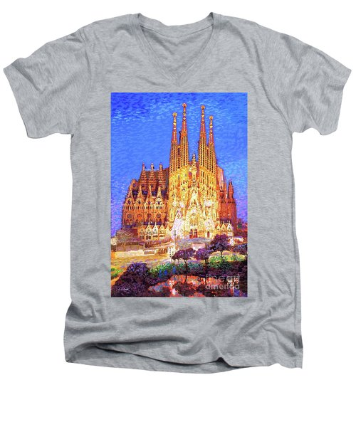 Men's V-Neck T-Shirt featuring the painting Sagrada Familia At Night by Jane Small