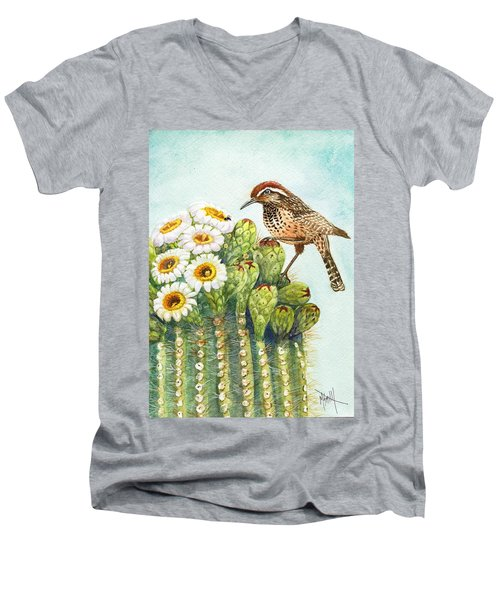 Men's V-Neck T-Shirt featuring the painting Saguaro And Cactus Wren by Marilyn Smith