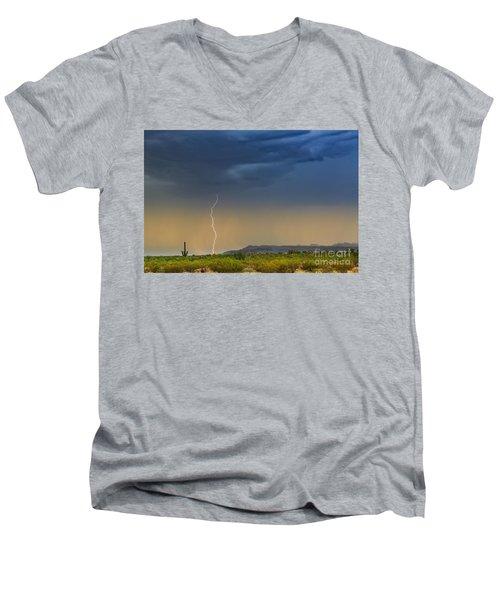Saguaro With Lightning Men's V-Neck T-Shirt