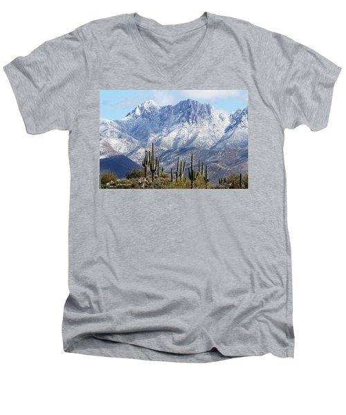Saguaros At Four Peaks With Snow Men's V-Neck T-Shirt by Tom Janca