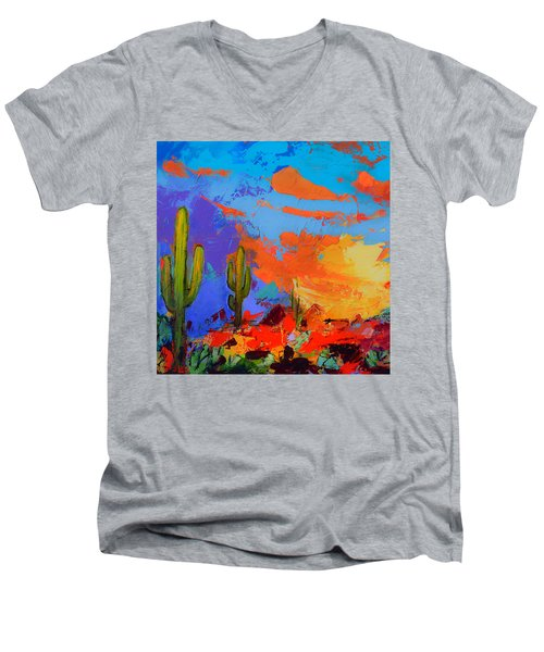 Saguaros Land Sunset By Elise Palmigiani - Square Version Men's V-Neck T-Shirt