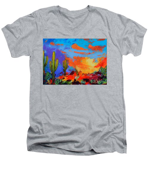 Saguaros Land Sunset Men's V-Neck T-Shirt