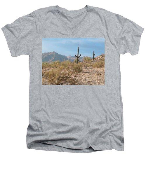 Saguaros On A Hillside Men's V-Neck T-Shirt