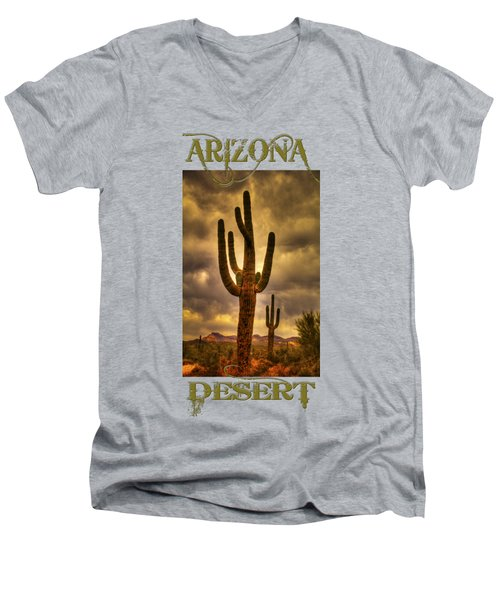 Saguaros On The Sonoran Late Afternoon Men's V-Neck T-Shirt