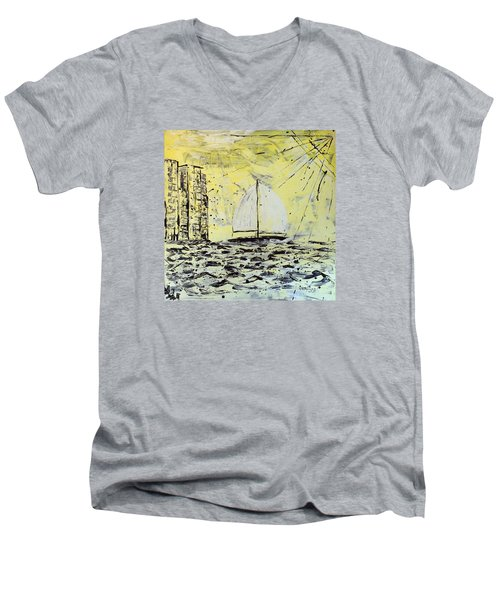 Sail And Sunrays Men's V-Neck T-Shirt by J R Seymour