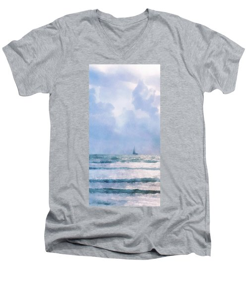 Men's V-Neck T-Shirt featuring the digital art Sail At Sea by Francesa Miller