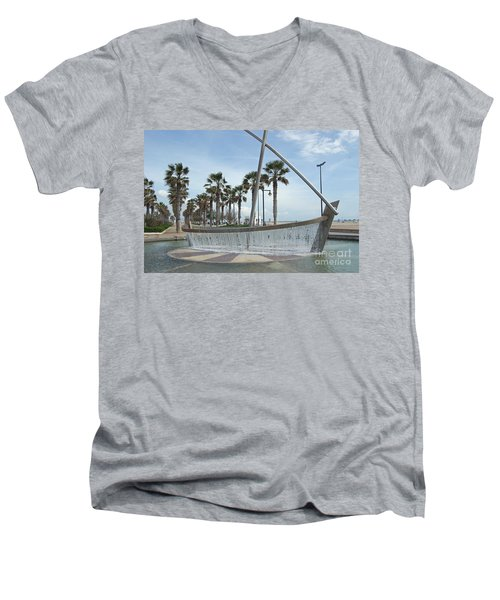 Sail Boat Fountain In Valencia Men's V-Neck T-Shirt