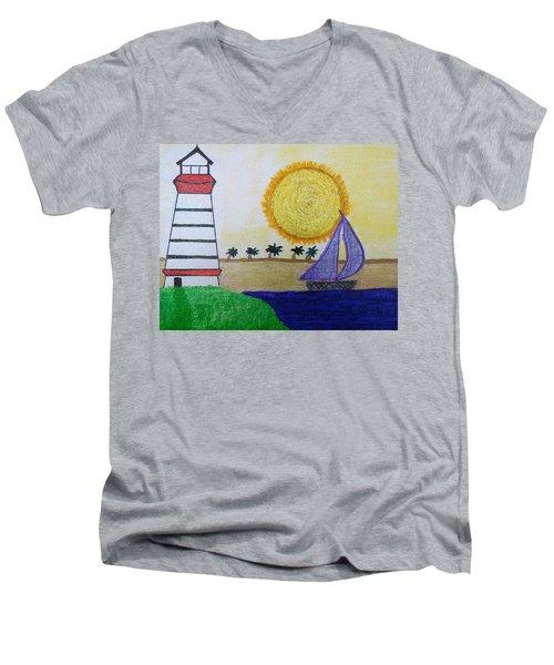 Sail Boat With Purple Sails Men's V-Neck T-Shirt
