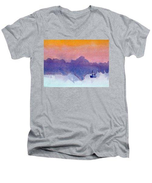 Sailboat At Dawn Men's V-Neck T-Shirt