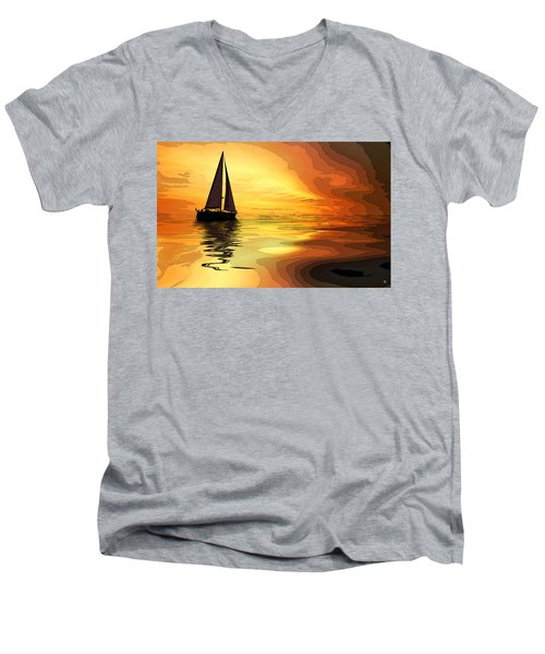 Sailboat At Sunset Men's V-Neck T-Shirt by Charles Shoup