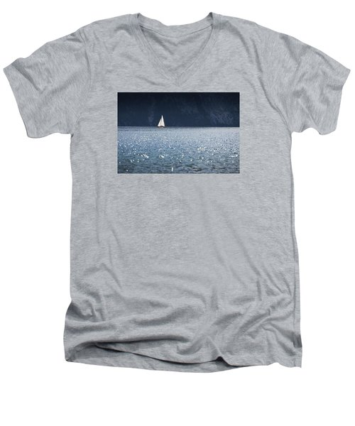Men's V-Neck T-Shirt featuring the photograph Sailboat by Chevy Fleet