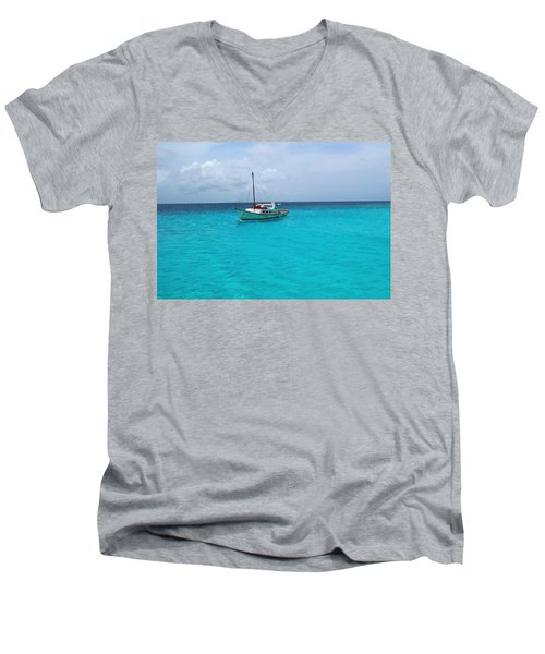 Sailboat Drifting In The Caribbean Azure Sea Men's V-Neck T-Shirt