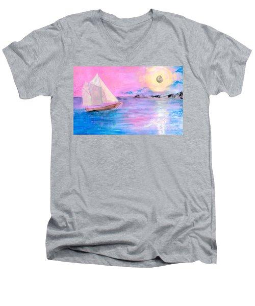 Sailboat In Pink Moonlight  Men's V-Neck T-Shirt