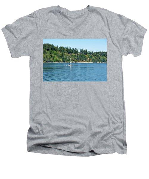 Sailboat Near San Juan Islands Men's V-Neck T-Shirt