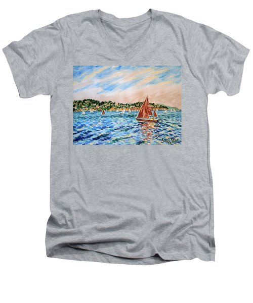 Sailboat On The Bay Men's V-Neck T-Shirt