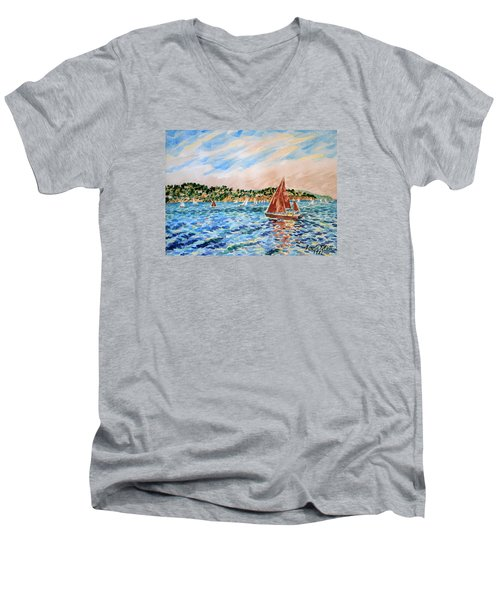 Sailboat On The Bay Men's V-Neck T-Shirt