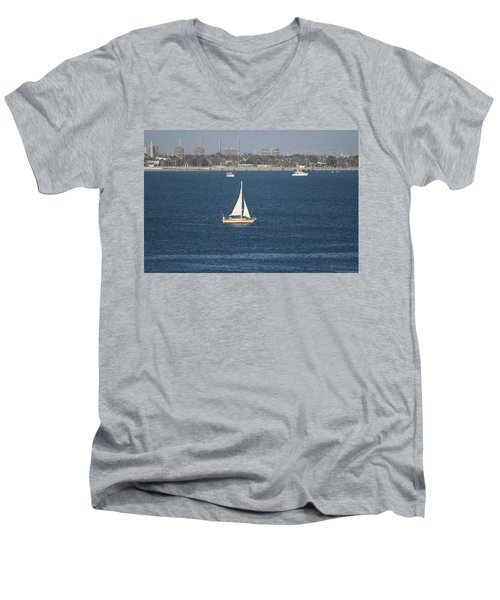 Sailboat On The Pacific In Long Beach Men's V-Neck T-Shirt