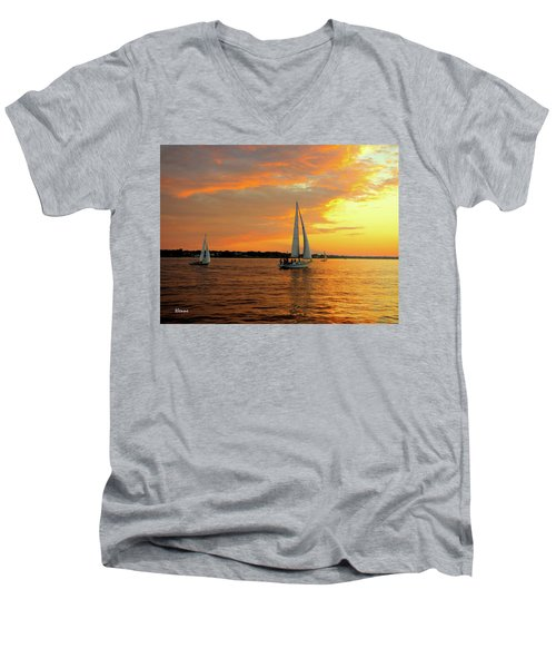 Men's V-Neck T-Shirt featuring the photograph Sailboat Parade by Robert Henne