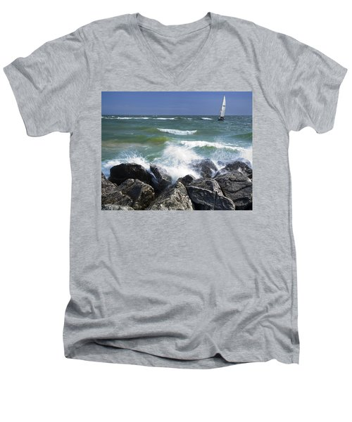 Sailboat Sailing Off The Shore At Ottawa Beach State Park Men's V-Neck T-Shirt