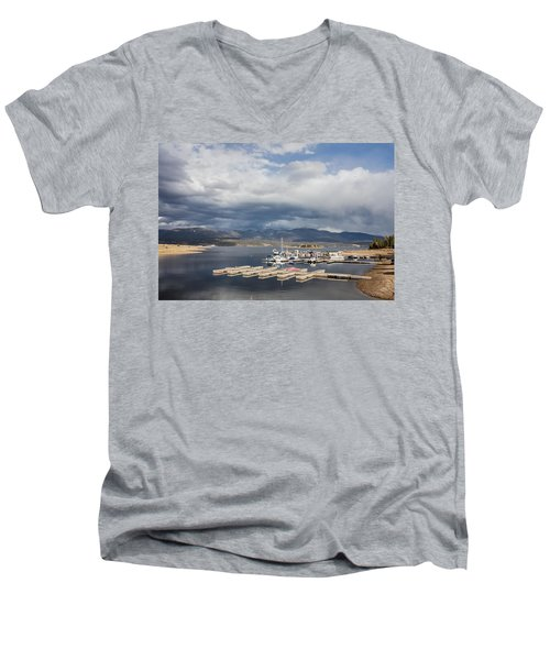 Men's V-Neck T-Shirt featuring the photograph Sailboat Slips On Lake Granby In Grand County by Carol M Highsmith