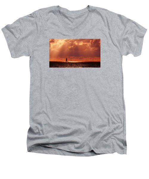 Sailboat Sun Rays Men's V-Neck T-Shirt