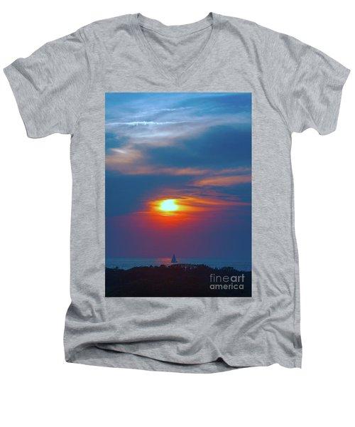 Sailboat Sunset Men's V-Neck T-Shirt by Todd Breitling