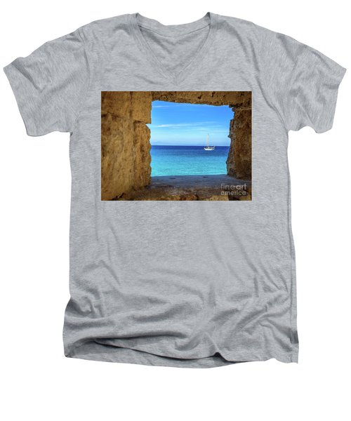 Sailboat Through The Old Stone Walls Of Rhodes, Greece Men's V-Neck T-Shirt