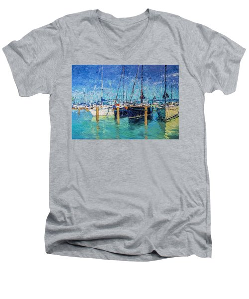 Sailboats At Balatonfured Men's V-Neck T-Shirt