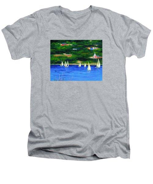 Sailboats On Hudson Men's V-Neck T-Shirt by Anne Marie Brown