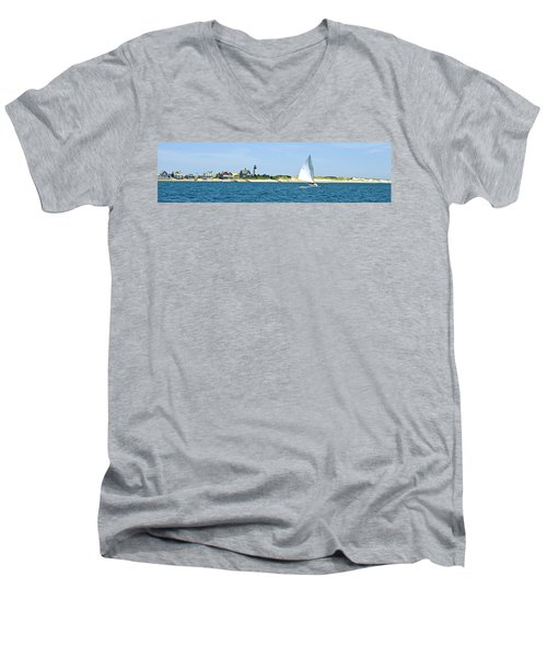 Sailing Around Barnstable Harbor Men's V-Neck T-Shirt by Charles Harden