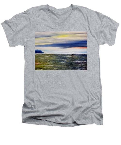 Men's V-Neck T-Shirt featuring the painting Sailing At Dusk by Marilyn  McNish