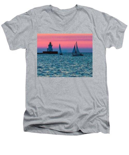 Sailing At The Cleveland Lighthouse  Men's V-Neck T-Shirt