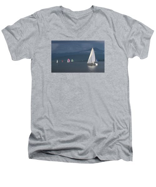 Sailing Boats By Stormy Weather, Geneva Lake, Switzerland Men's V-Neck T-Shirt by Elenarts - Elena Duvernay photo