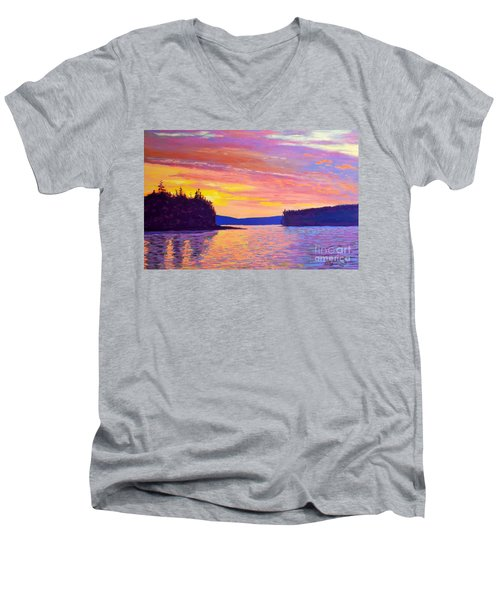 Sailing Home Sunset Men's V-Neck T-Shirt by Rae  Smith