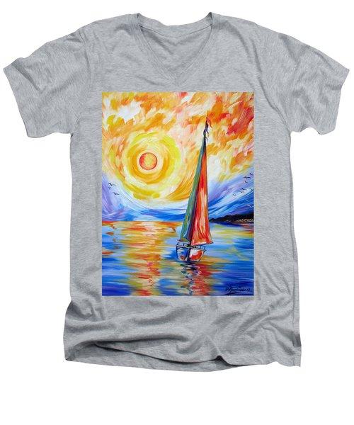 Sailing In The Hot Summer Sunset Men's V-Neck T-Shirt