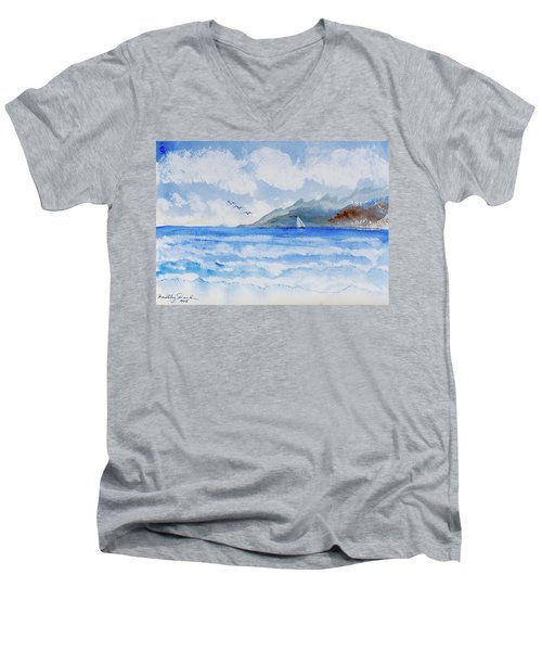 Sailing Into Moorea Men's V-Neck T-Shirt