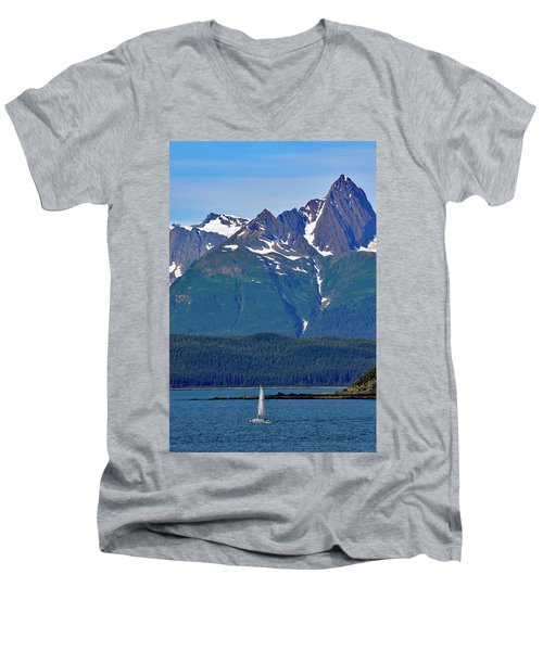Sailing Lynn Canal Men's V-Neck T-Shirt by Cathy Mahnke