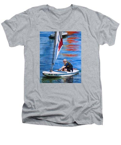 Men's V-Neck T-Shirt featuring the painting Sailing On Lake Thunderbird by Joshua Martin