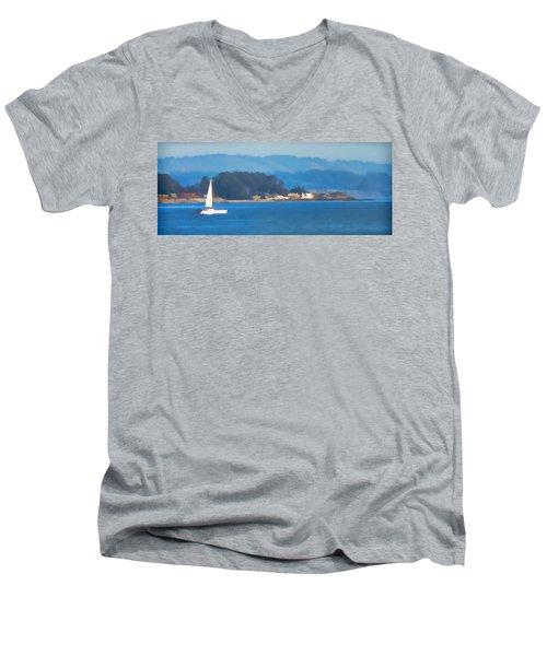 Sailing On The Monterey Bay Men's V-Neck T-Shirt