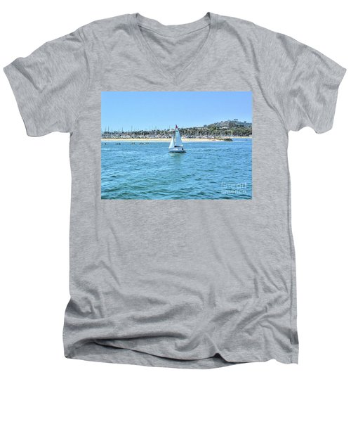 Sailing Out Of The Harbor Men's V-Neck T-Shirt