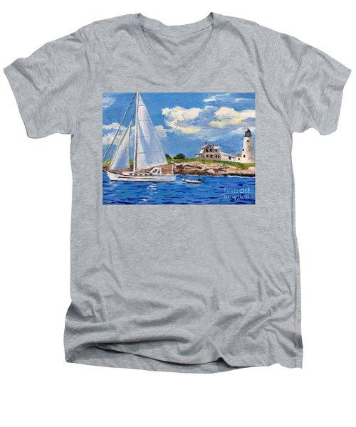 Sailing Past Wood Island Lighthouse Men's V-Neck T-Shirt