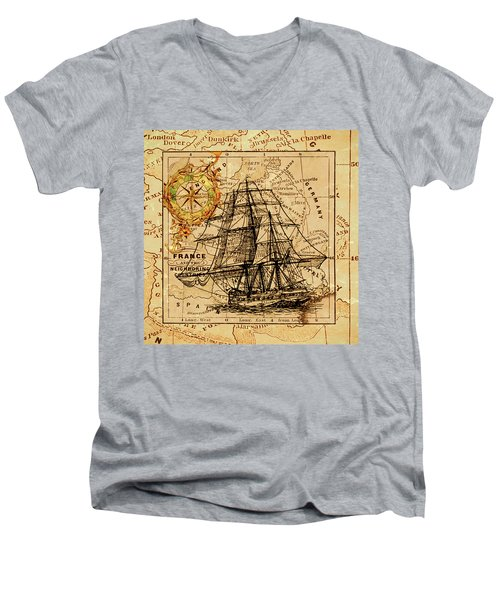 Sailing Ship Map Men's V-Neck T-Shirt
