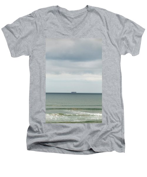 Men's V-Neck T-Shirt featuring the photograph Sailing The Horizon by Linda Lees