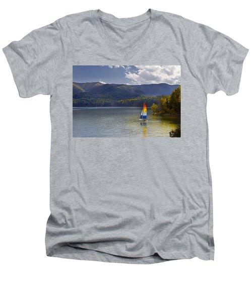 Sailing The Mountain Lakes Men's V-Neck T-Shirt