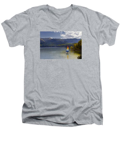 Sailing The Mountain Lakes Men's V-Neck T-Shirt