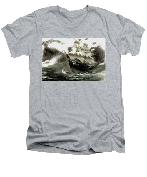 Sailing The Stormy Seas Men's V-Neck T-Shirt