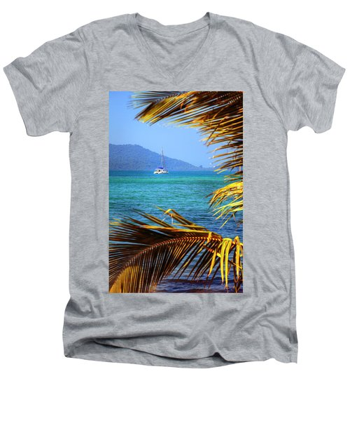 Men's V-Neck T-Shirt featuring the photograph Sailing Vacation by Alexey Stiop