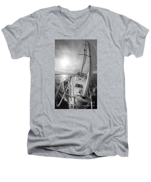Sailing Yacht Fate Beneteau 49 Black And White Men's V-Neck T-Shirt